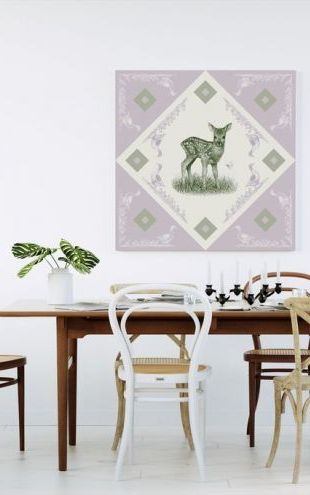 【Canvas Print】PHOTOWALL / Deer, Green Purple (e41022)