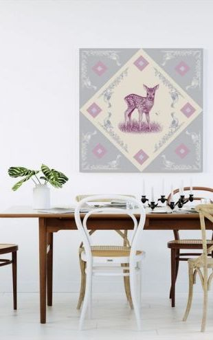 【Canvas Print】PHOTOWALL / Deer, Pink Blue (e41023)