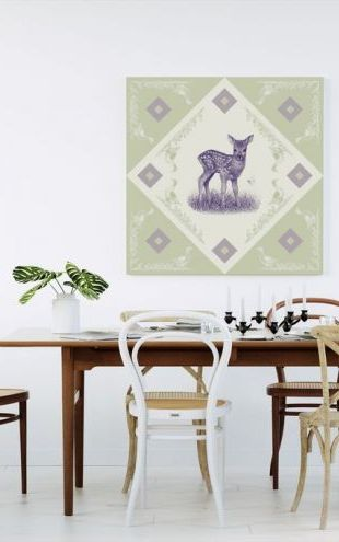 【Canvas Print】PHOTOWALL / Deer, Purple Green (e41024)