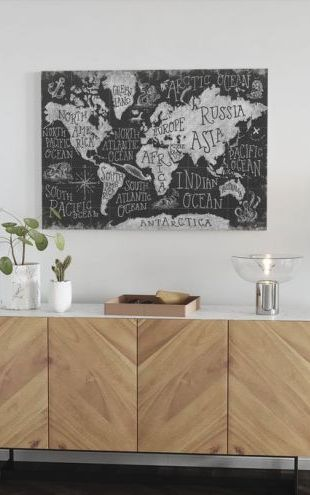 【Canvas Print】PHOTOWALL / Mythical Map I, black and white (e30917)