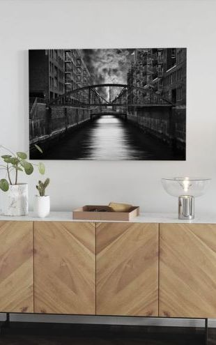 【Canvas Print】PHOTOWALL / The other side of Hamburg, black and white (e30975)
