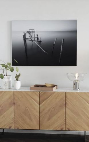 【Canvas Print】PHOTOWALL / Carrasqueira, Floating Lands, black and white (e30980)