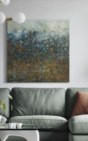 【Canvas Print】PHOTOWALL / Blue and Bronze Dots (e50047)