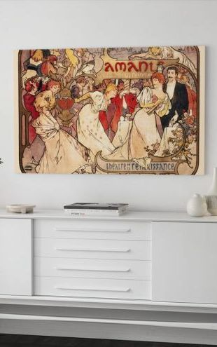 【Canvas Print】PHOTOWALL / Alphonse Mucha - Amants Colour Litho (e31026)