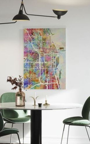 【Canvas Print】PHOTOWALL / Chicago Street Map Multicolour (e50082)