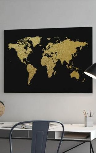 【Canvas Print】PHOTOWALL / Gold World Map with Black Background (e50180)