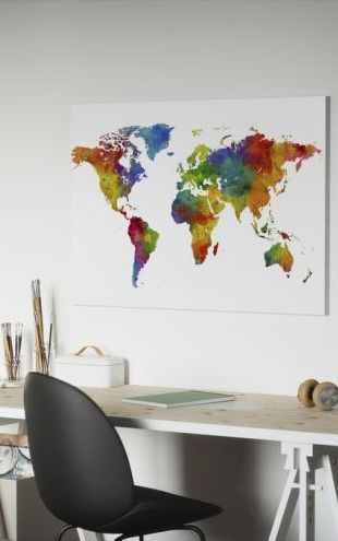 【Canvas Print】PHOTOWALL / Watercolour World Map Multicolour (e50186)