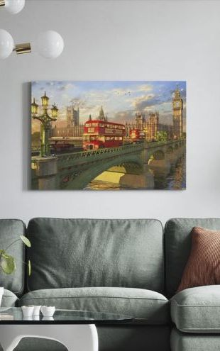 【Canvas Print】PHOTOWALL / Westminster Bridge Buses (e312501)