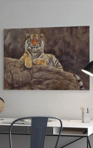 【Canvas Print】PHOTOWALL / Siberian Tiger on Rock (e312455)