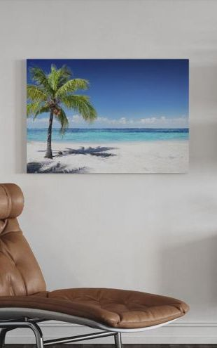 【Canvas Print】PHOTOWALL / Coral Beach with Palm Tree (e315859)