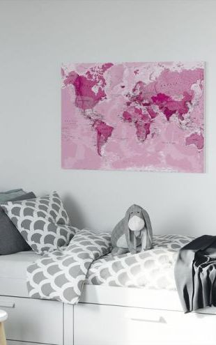 【Canvas Print】PHOTOWALL / World Map Pink (e316086)