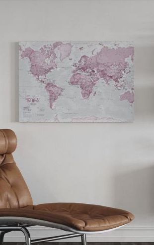 【Canvas Print】PHOTOWALL / World Map Political Pink (e316091)