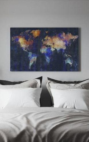 【Canvas Print】PHOTOWALL / Flowing Color Map - Blue (e320966)