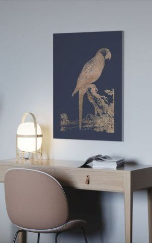 【Canvas Print】PHOTOWALL / Rose Gold Foil Parrot I on Imperial Blue (e321420)
