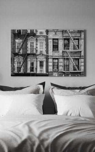 【Canvas Print】PHOTOWALL / Black Manhattan - Two Fire Escape Stairs (e328643)