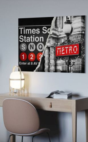 【Canvas Print】PHOTOWALL / Dual Torn Posters - Metro (e328649)