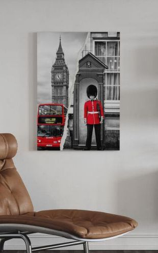 【Canvas Print】PHOTOWALL / Dual Torn Posters - Red London (e328652)