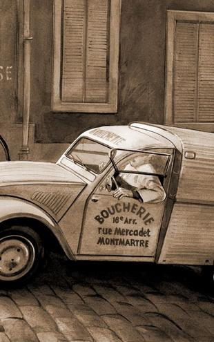 PHOTOWALL / Citroen In Paris - Sepia (e12038)