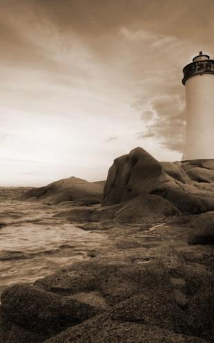PHOTOWALL / Sardinia Lighthouse - Sepia (e10048)