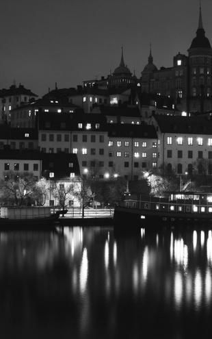 PHOTOWALL / Lights in Stockholm - b/w (e1499)
