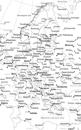 PHOTOWALL / Europe Map - b/w (e1771)