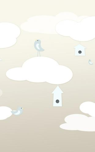 PHOTOWALL / Birds Up High - Beige Blue (e20299)