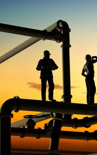 PHOTOWALL / Oil Workers and Pipes in Sunset (e20372)
