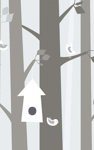 PHOTOWALL / Bird Forest - Beige (e20769)