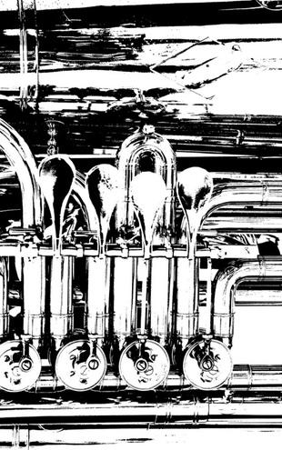 PHOTOWALL / Brass Horn Valve - Graphic Tuba (e21336)
