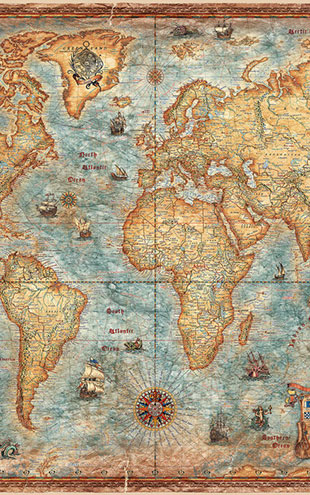 PHOTOWALL / Modern World Antique Map (e21481)