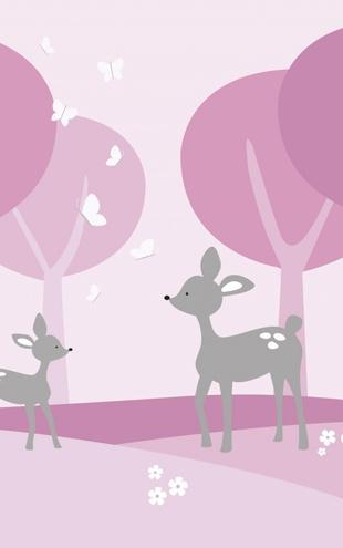 PHOTOWALL / Deer in Woods - Pink (e21522)