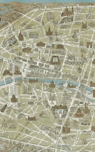 PHOTOWALL / Monuments of Paris Map Blue (e21620)