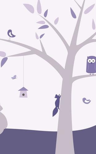 PHOTOWALL / Animal Tree - Purple (e21893)