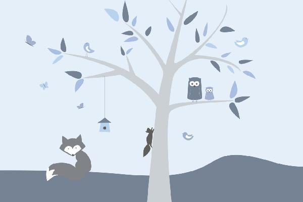 PHOTOWALL / Animal Tree Blue (e22034)