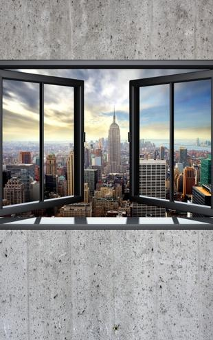 PHOTOWALL / New York Through Window - Concrete Wall (e22319)