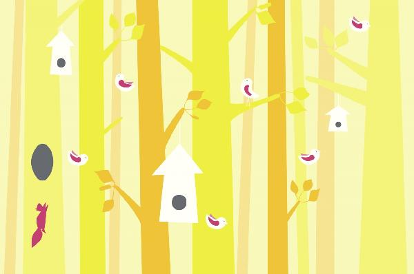 PHOTOWALL / Birdforest - Yellow and Pink (e22321)