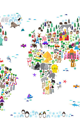 PHOTOWALL / Animal Map of the World (e22670)