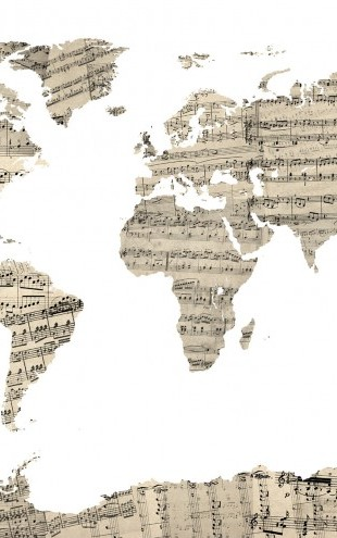 PHOTOWALL / Old Music Sheet World Map (e22672)