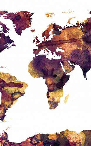 PHOTOWALL / Watercolor World Map Purple (e22677)