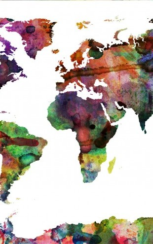 PHOTOWALL / Watercolor World Map Multicolor (e22680)