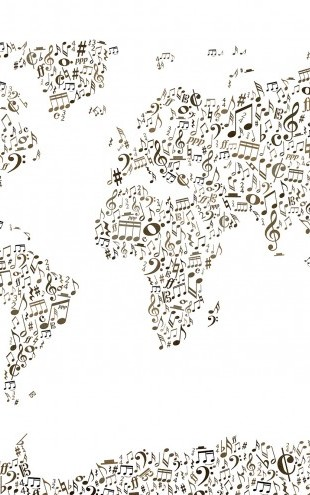 PHOTOWALL / Music Notes World Map (e22682)