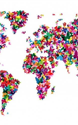 PHOTOWALL / Butterflies World Map Multicolor (e22700)