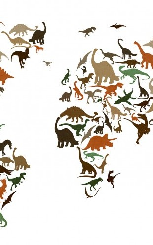 PHOTOWALL / Dinosaur World Map Multicolor (e22701)