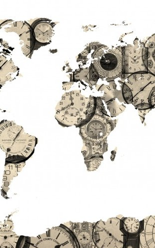 PHOTOWALL / Old Clocks World Map (e22703)