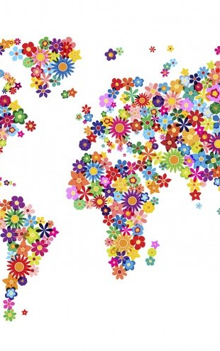 PHOTOWALL / Flowers World Map (e22708)
