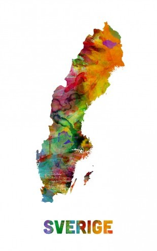 PHOTOWALL / Sweden Watercolor Map (e22709)
