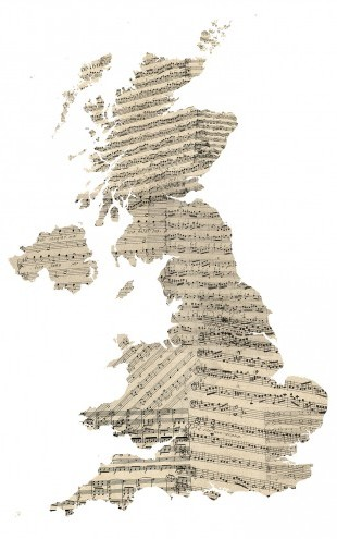 PHOTOWALL / Great Britain Old Music Sheet Map (e22715)