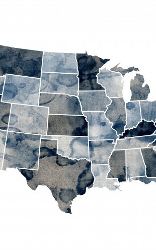 PHOTOWALL / USA Watercolor Map Blue (e22721)