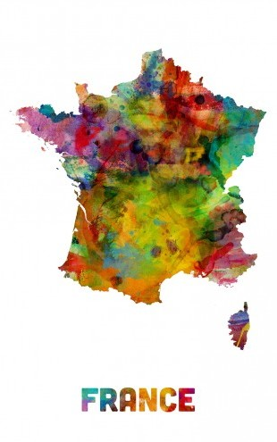 PHOTOWALL / France Watercolor Map (e22722)