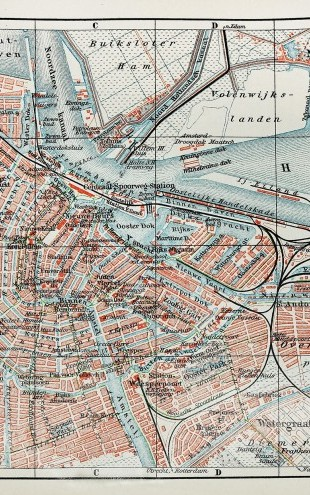 PHOTOWALL / 19th Century Old Map of Amsterdam City (e22813)